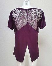 PAPAYA burgundy Lace Viscose high neck short sleeve top blouse tunic sz 14