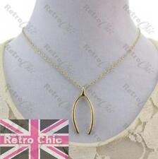 Retro Wishbone Collar Corto Con Colgante De Metal encanto deseo Hueso Antiguo Enchapado En Oro