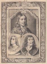 A.Houbraken (1660-1719)  Johan Lingelbach en Samuel and Jan van Hoogstraten