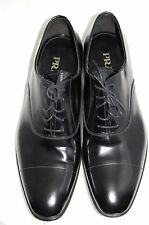 NIB $695 PRADA Black Patent Leather Cap-Toe Men's Casual Oxford Shoes 11.5 US