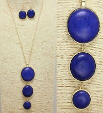 Gold and Blue Long FASHION Necklace Set