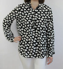 Kate Spade Black & White Dancing Hearts Popover Silk Blend Top Size Small