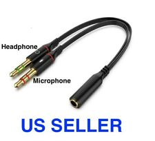 3.5mm Audio Mic Y Splitter Cable Cord Headphone Adapter Female to 2 Male Gold US