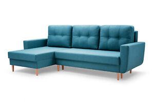 Ecksofa Ecke ONLY Sofa Couch Universelle Ottomane mit Bettkasten Wohnzimmer Blau