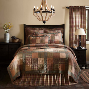 CROSSWOODS QUILT SET Patchwork Cotton Bedding SIZE King Queen Twin Bedspread VHC