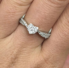 10k Gold 1/4 Carat Diamond Heart Cluster Pave Engagement Ring