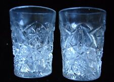 2 Clear EAPG Tumblers Ornately Faceted Daisy and Star Brust Pattern Glass