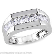 MENS  DIAMOND SAPPHIRE  WEDDING  BAND RING  SZ 9 SZ 10 SZ 11 SZ 12 SZ 13 + GIFT!