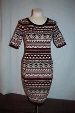 Womens BEIGE BLACK MAROON SWEATER DRESS Geometric BODY HUGGING 1/2 Sleeve S 4-6