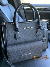 MICHAEL KORS HOPE MEDIUM MESSENGER MK SIGNATURE CROSSBODY BAG + Wallet BLACK
