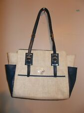 Vera Wang Womens Large Tote Beige and Navy Blue Vinyl