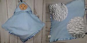Cuddie Toy Blue Bear Angel Wings Hood Lovey Blanket Halo Security Hoodie Satin