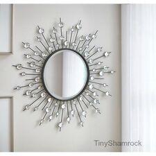 Sunburst Wall Mirror Silver Jeweled Art Hollywood Glam Accent Round Modern Decor