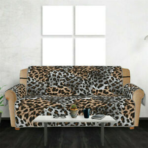 Anti-Slip Leopard Print Quilted Sofa Couch Cover Chair Mat Furniture Cover Seat