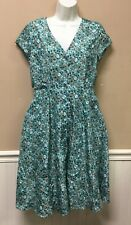 Pink Martini Button Front Green Floral Print Dress Retro Style Size Small S