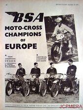 "1955 Motor Cycle ADVERT - B.S.A. ""Moto-Cross Champions of Europe"" Photo Print AD"