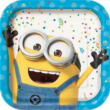 DESPICABLE ME Minion Made LARGE PAPER PLATES (8) ~ Birthday Party Supplies Large