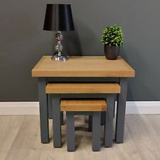 Painted Nest Of Tables Oak / Solid Wood / Dark Grey End Table / Brand New Trend