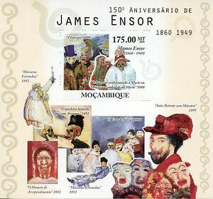 Mozambique Art Stamps 2010 MNH James Ensor Belgian Painter Paintings 1v S/S