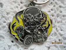 Key Chain Skull Motorcycle HP Industries Solid Pewter