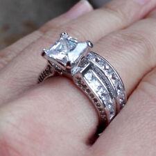 925 Silver Engagement Bridal Ring Set 7mm Off White Princess Moissanite Diamond