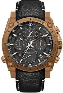 NEW Bulova Precisionist 97B188 Quartz Bronze/Rose Gold Chronograph 47mm Watch