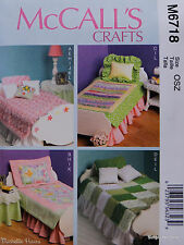 "McCall's 6718 Sewing PATTERN for Doll Bedding & Furniture fits 18"" AMERICAN GIRL"