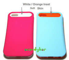 For iPhone 5 5S Hot Pink/Baby Blue w ID Card Holder Hybrid Soft Skin Cover Case