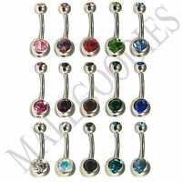 W003 Double Gem Jewels Naval Belly Rings All 15 Colors Clear Pink Red Green Blue