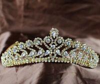 Romantic Gold Tiara Austrian Rhinestones Crown Bridal Wedding Pageant Headbands