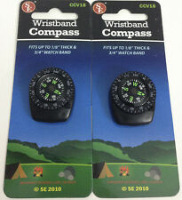 2pc Liquid Filled Wristband Clip-On Navigation Compass