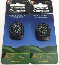 2pc Liquid Filled Wristband Clip-On Navigation Compass