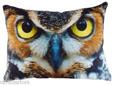 "17""x13"" OWL Eyes Velvet Chenille Cushion Evans Lichfield Bird British wildlife"