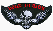 SKULL WING BORN TO RIDE EMROIDERED 5 INCH BIKER PATCH