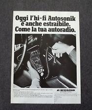 G326 - Advertising Pubblicità - 1981 - AUTOSONIK , IMPIANTO HI-FI CAR ESTRAIBILE