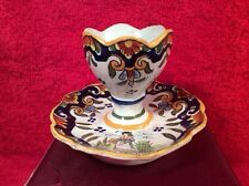 Rare Antique French Faience Egg Cup c1903-1913 Rouen Style, ff338  GIFT QUALITY!