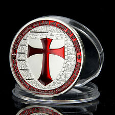 Luxury Knight Red Cross Silver Plated Commemorative Coins Art Collectible Gifts