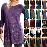 Women T-Shirt Floral Long Sleeve Loose Tunic Tops Casual Blouse Tee Plus Size