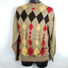 Monte Carlo Argyle Long Sleeve Sweater Wool Tan Brown