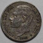ESPAÑA: 50 Centimos plata ALFONSO XII 1881 - MS.M estrellas *8* *1*