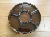 VINTAGE LAZY SUSAN COMPLETE  WOODEN TURNTABLE WITH SMOKED GLASS DISHES