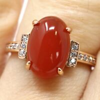 Vintage Oval Red Garnet Diamond Paved Ring Nickel Free Jewelry Gift 14K Gold