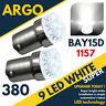 2x COCHE 1157 BAY15D P21/5w 380 9 Led Blanco Trasero Luz de freno alto nivel