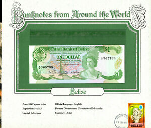 World Banknotes Belize P-46a $1 Dollar 11/1983 UNC Prefix A/8