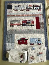 Pottery Barn Crib Train Quilt Set with Bed Skirt & Sheet