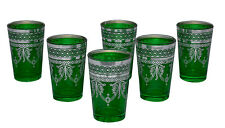 Tea Glasses Espresso Shot Glass Moroccan Handmade Turkish 6-pack Green
