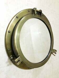 "20"" Decal Antique Porthole Nautical Canal Boat -Ship Round Mirror Porthole Decor"