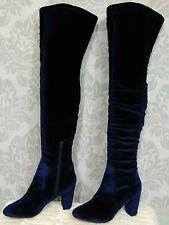 Boho Gypsy Thigh High Blue Velvet Stretch Boots Womens 7.5 High Heels By L4L