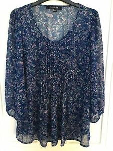 FOREVER 21 DITSY FLORAL SHEER SHIRT SIZE S BLUE VGC