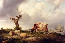 Oil painting thomas sidney cooper - cow with sheep in landscape hand painted art